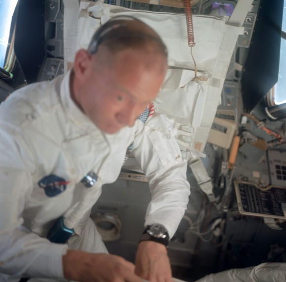 Buzz Aldrin with Omega Speedmaster