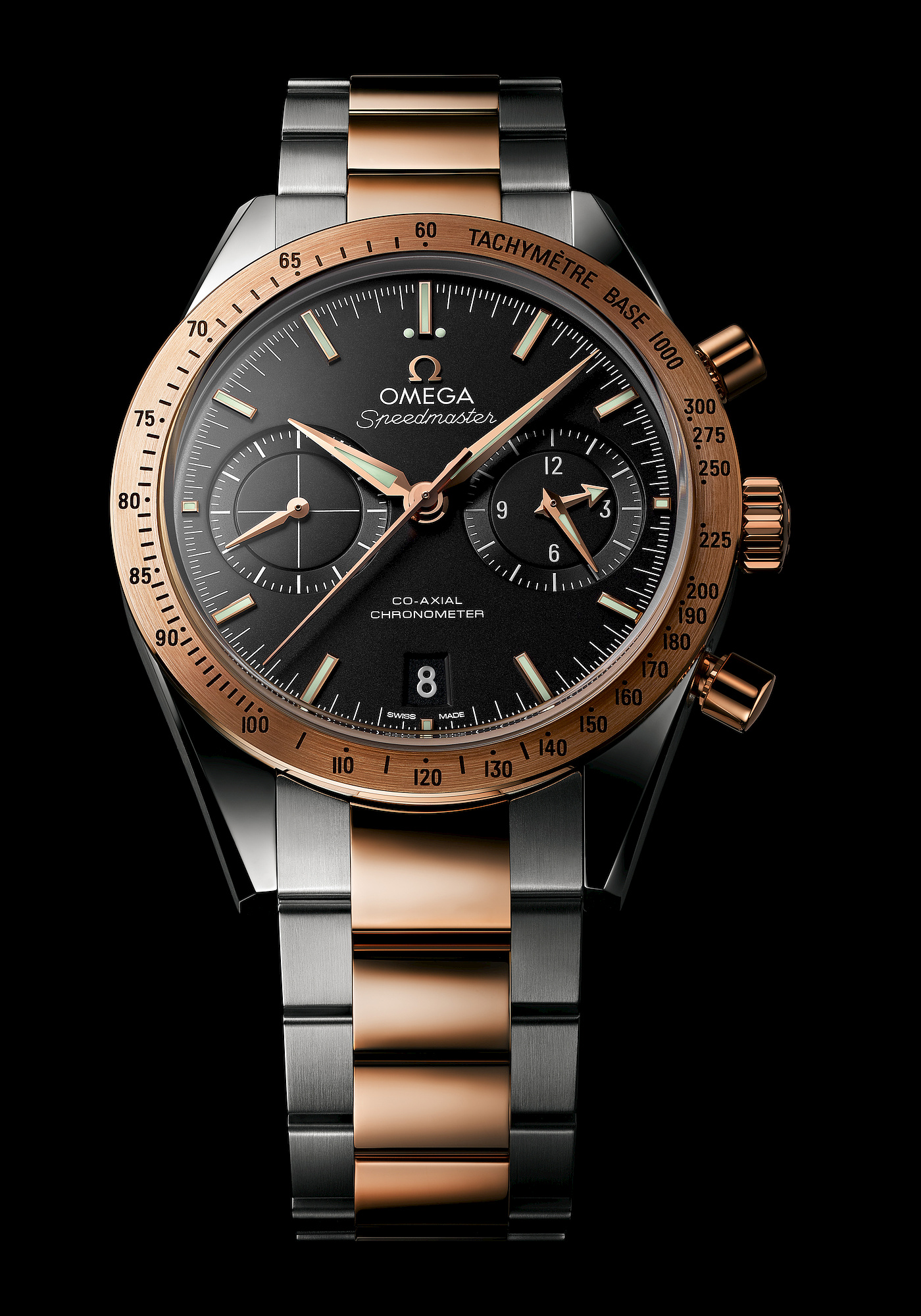 Press release omega speedmaster 57 9300 in two tone speedy watches for Omega watch speedmaster