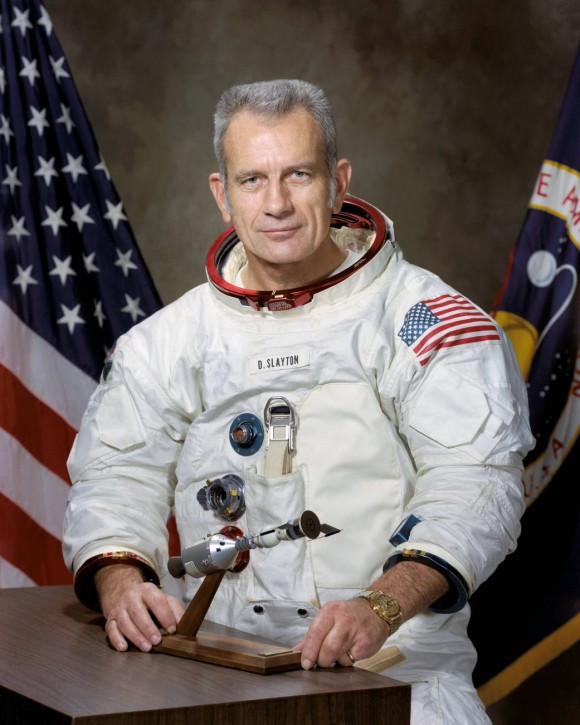 Astronaut Donald K Deke Slayton with gold Omega Speedmaster